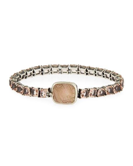 Pale Quartz Crystal Bracelet w/Carved Station, Multi