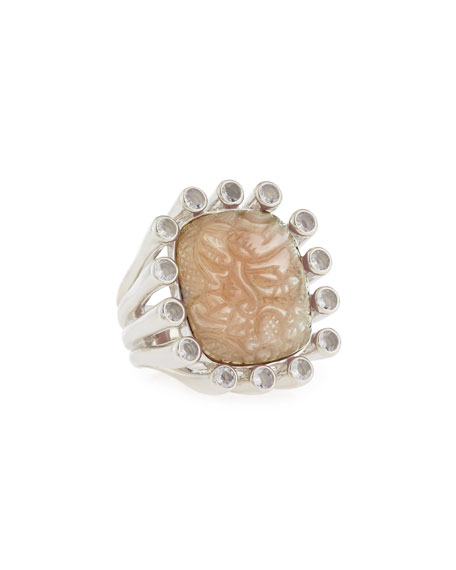 Carved Mother-of-Pearl & Quartz Doublet Ring, Size 7