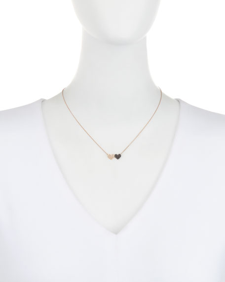 Sydney evan 14k rose gold double heart pendant necklace w two tone sydney evan 14k rose gold double heart pendant necklace w two tone diamonds neiman marcus mozeypictures Image collections