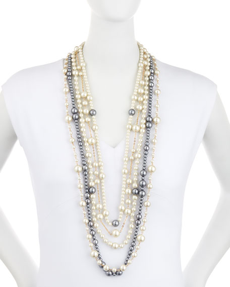 "Multi-Strand Pearly Bead Necklace, White/Gray, 32""L"