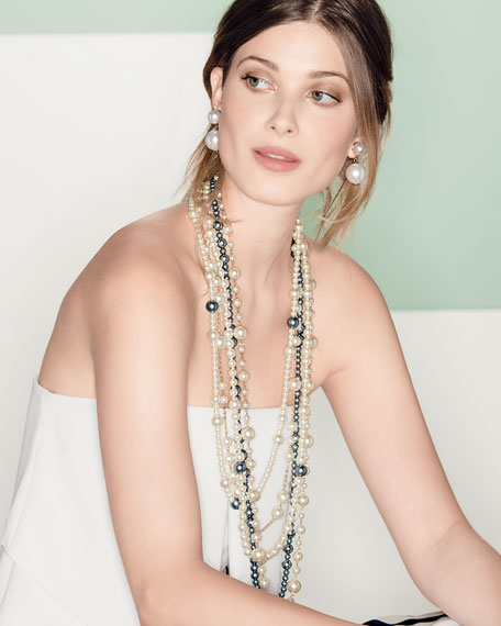 """Multi-Strand Pearly Bead Necklace, White/Gray, 32""""L"""