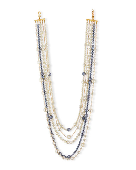 Kenneth Jay Lane Multi-Strand Pearly Bead Necklace, White/Gray,