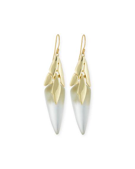 Alexis Bittar Triangular Golden Lucite Dangle Earrings