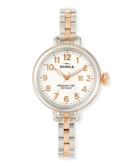 Shinola 34mm Birdy Stainless Steel & Rose Gold