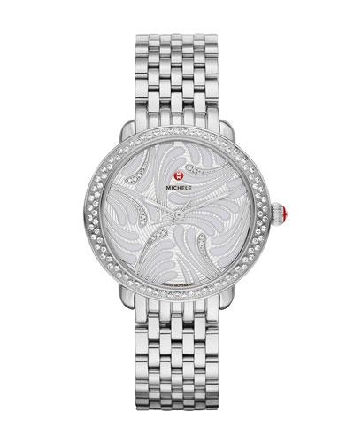 16mm Serein Diamond Swan Watch Head in Stainless Steel