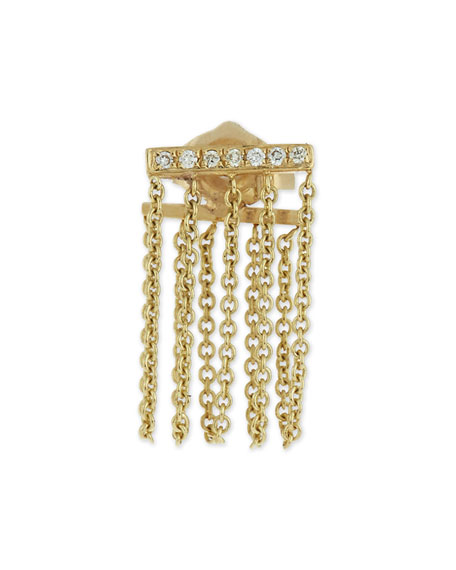 Sydney Evan Bar Chain Single Stud Earring w/Pavé