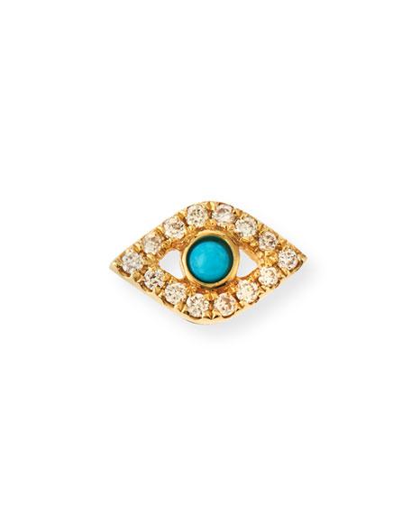 Sydney Evan Small Turquoise Cabochon & Diamond Evil