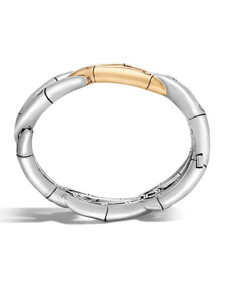 Bamboo Sterling Silver Bangle w/18K Link