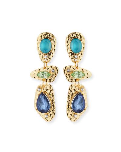 Linear Drop Earrings, Blue/Multi