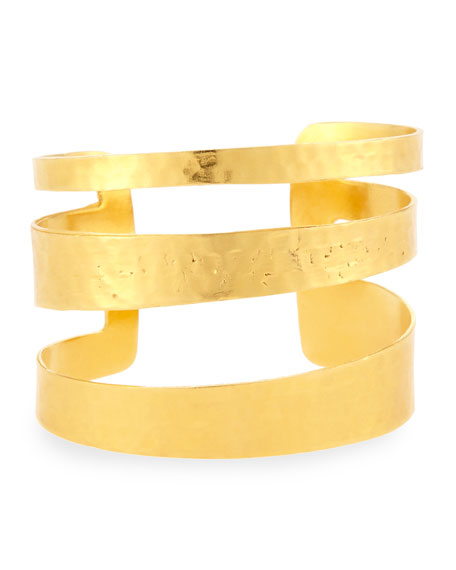 Devon Leigh Hammered Cutout Cuff Bracelet