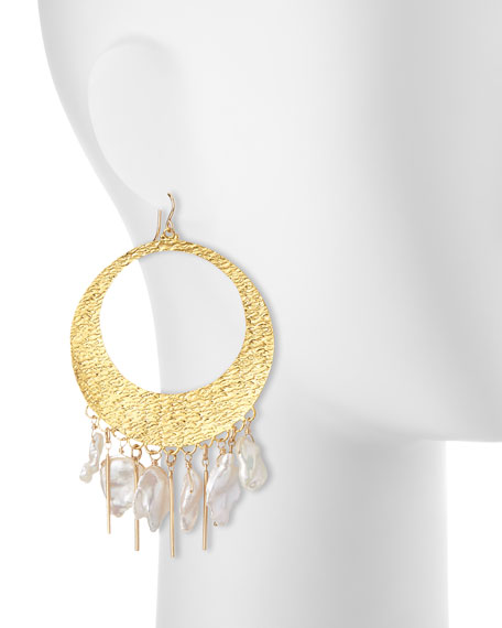Baroque Pearl Statement Hoop Earrings