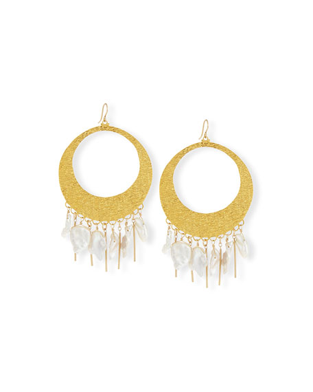 Devon Leigh Baroque Pearl Statement Hoop Earrings