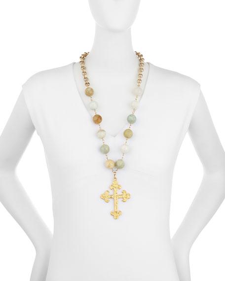 Faceted Aquamarine Cross Pendant Necklace