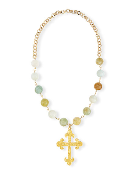 Devon Leigh Faceted Aquamarine Cross Pendant Necklace