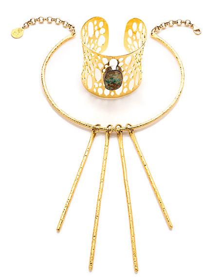 Textured Stick Pendant Collar Necklace