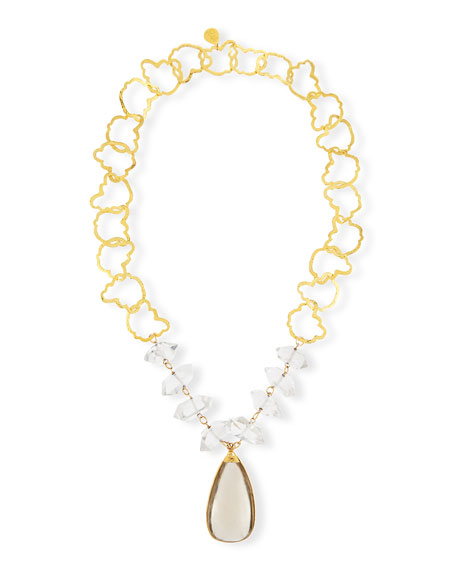 Devon Leigh Raw Quartz Mixed Link Necklace