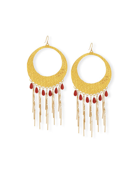 Devon Leigh Coral Statement Hoop Earrings