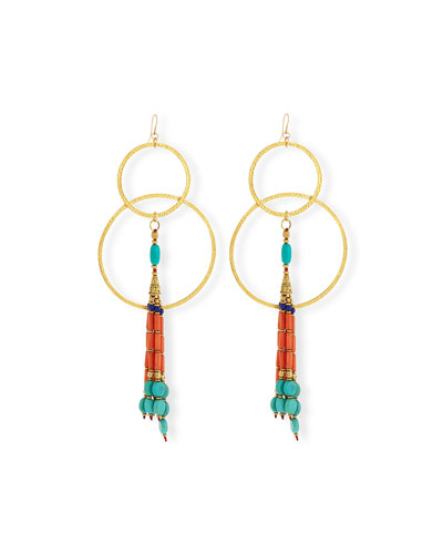 Turquoise & Coral Double-Hoop Earrings