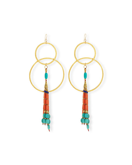 Devon Leigh Turquoise & Coral Double-Hoop Earrings