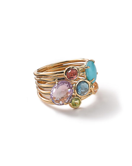 18k Gold Rock Candy Gelato 6-Stone Cluster Ring in Summer Rainbow, Size 7