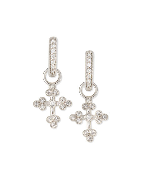 JudeFrances Jewelry Tiny Provence Diamond Cross Earring Charms