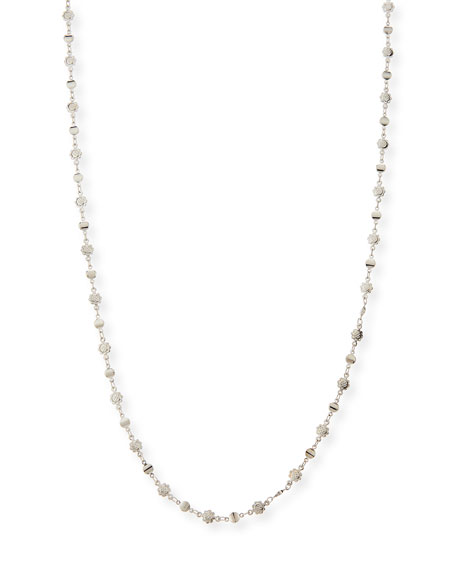 Micro-Flower Disk Necklace, Silver