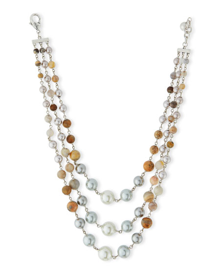 Lulu Frost Glass Pearl & Agate Three-Strand Necklace