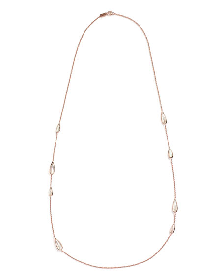 Rosé Rock Candy Teardrop-Station Necklace