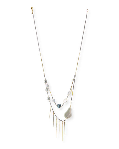 Pearly Pavé Spike Strand Necklace