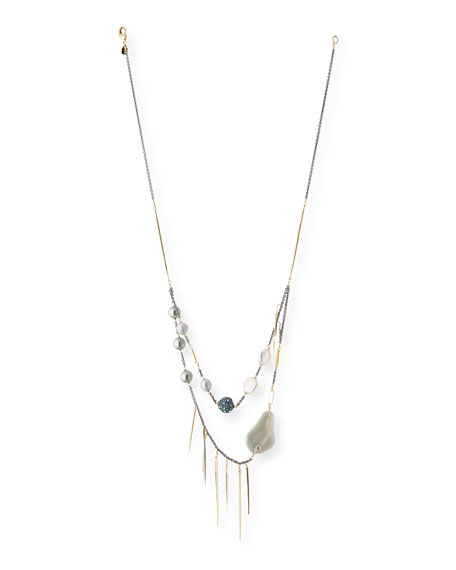 Alexis Bittar Pearly Pavé Spike Strand Necklace