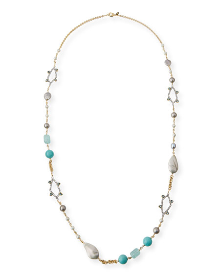 Alexis BittarLong Pearly Bead & Crystal Spike Necklace