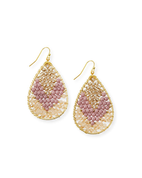 Colorblock Beaded Teardrop Earrings, Pink/Golden