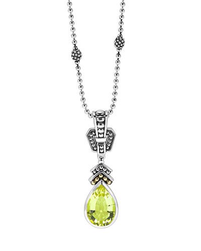 12mm Glacier Caviar Green Quartz Pendant Necklace