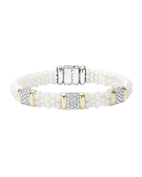 White Caviar Pearl & Diamond 9mm Bracelet