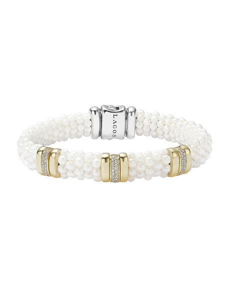 Lagos Caviar Ceramic Pearl & Diamond Three-Station Bracelet,