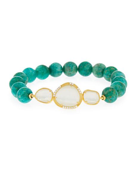 Tai Agate Bead Stretch Bracelet, Green