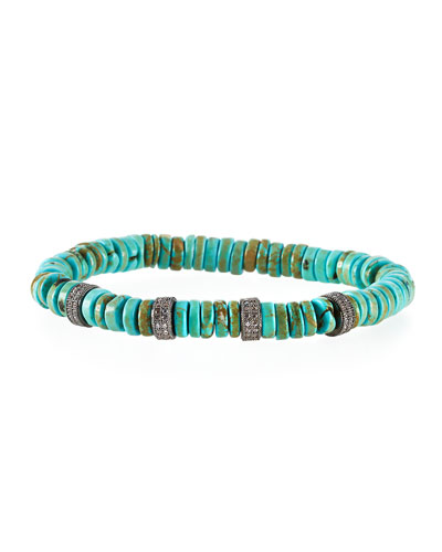 Green Turquoise Rondelle Bracelet