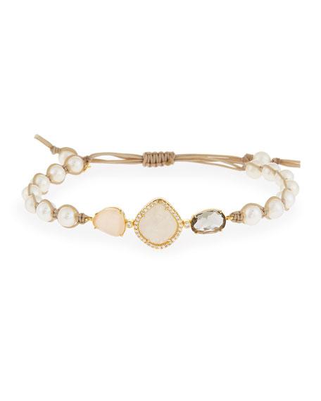 Crystal Station Pearl Cord Bracelet