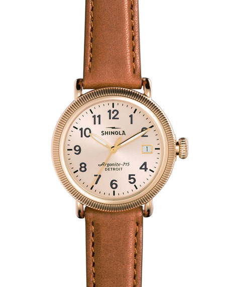 Shinola 38mm Runwell Coin-Edge Leather Strap Watch,