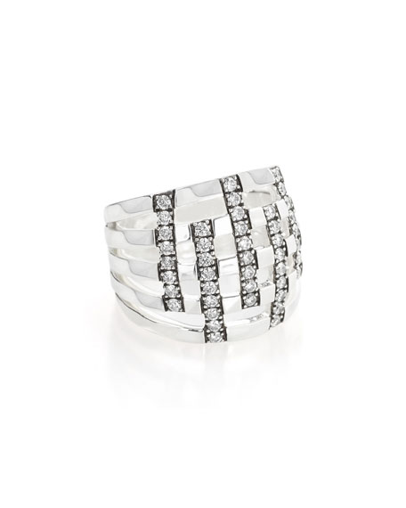 925 Glamazon Domed Diamond Stripe Ring, Size 7