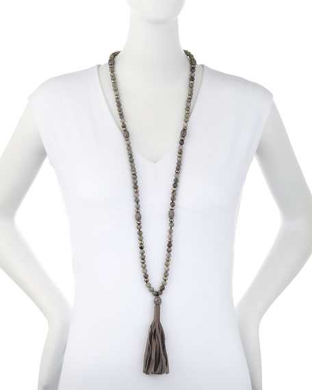 Labradorite Bead Necklace with Suede Tassel