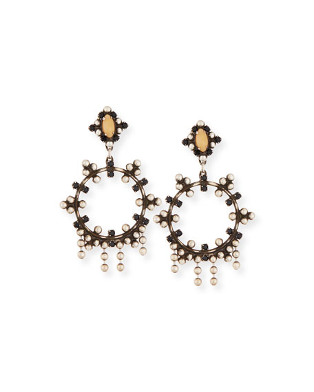 Dannijo Valentia Beaded Hoop Drop Earrings, Black/Nude