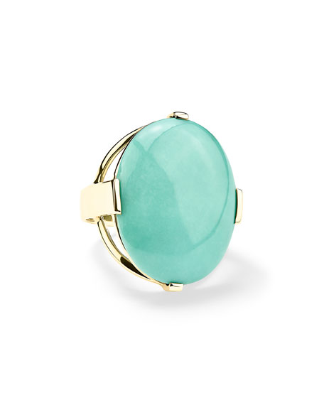 18K Polished Rock Candy Large Turquoise Ring
