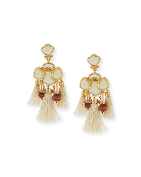 Lele Sadoughi Tassel Chandelier Earrings, Petal White
