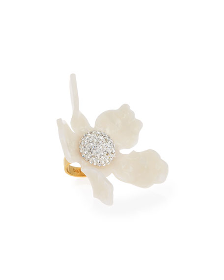 Lele Sadoughi Crystal Lily Ring, Pearl White, Size