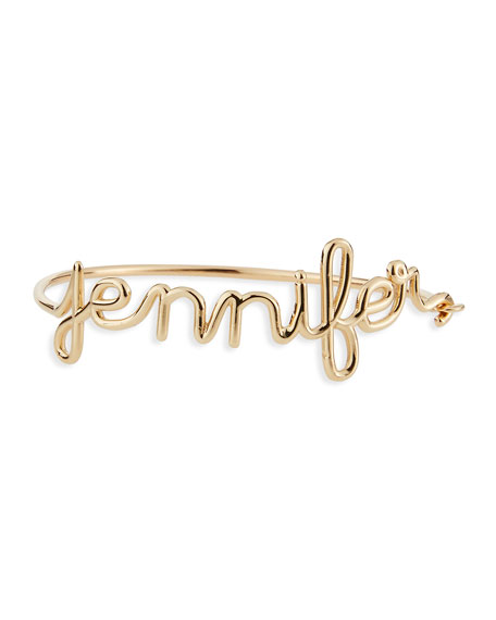 14K Yellow Gold Script Name Bracelet