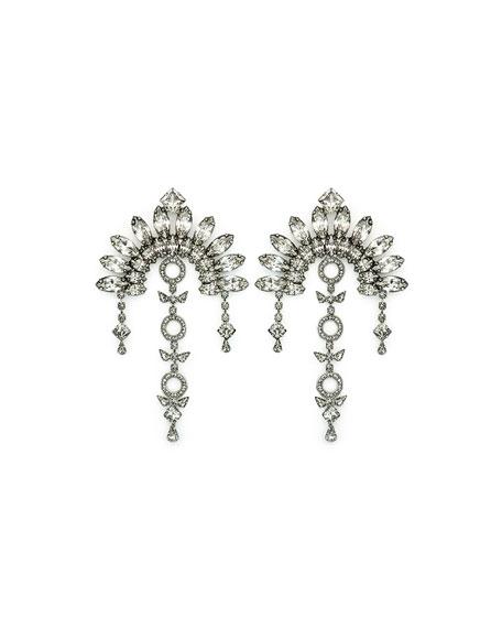 Ivy Crystal Fan Drop Earrings