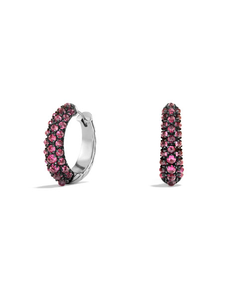 David Yurman Osetra Medium Rhodolite Garnet Hoop Earrings