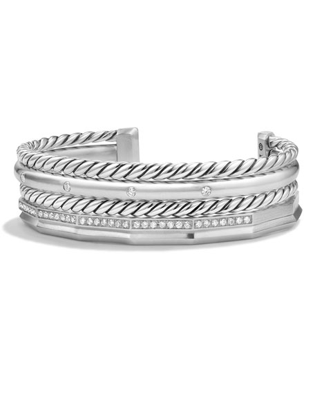 David Yurman Stax Narrow Cuff Bracelet with Diamonds