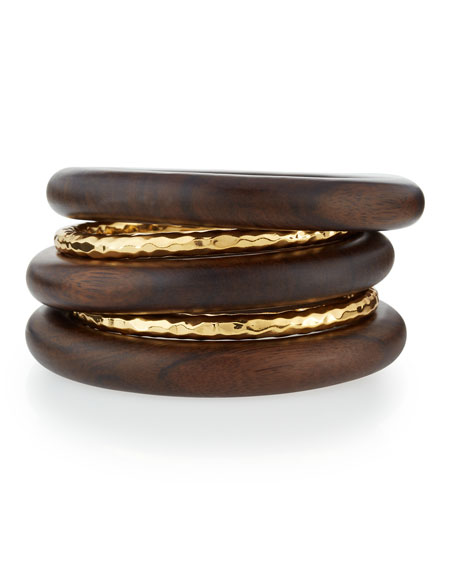 5-Piece 22K Gold-Plate & Ebony Wood Bangle Set